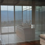 Kyvné celoskleněné dveře - ESG sklo float